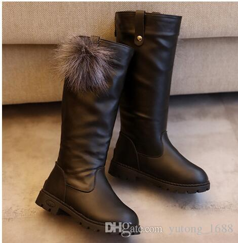 b25978a939bb7 2018 Winter Girls Boots Kids Sonw Boots Children Winter Shoes Warm Fur  Plush Waterproof Rubber PU Leather Fashion Baby Princess Shoes Kids Winter  Boots Girl ...