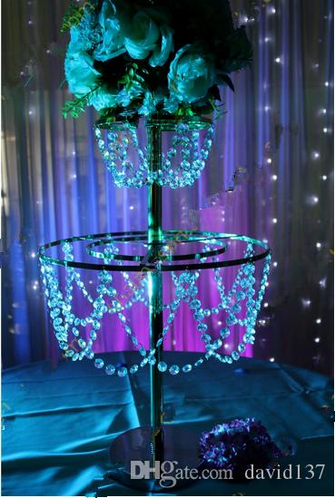 Clear acrylic chandelier table top centerpieces for flower for Plastic chandeliers for parties