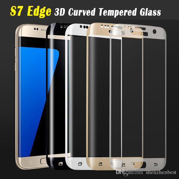 En gros / 3D Full Cover haute qualité ultra-mince écran en verre réel protecteur pour Trempé Samsung Galaxy S6 bord S7
