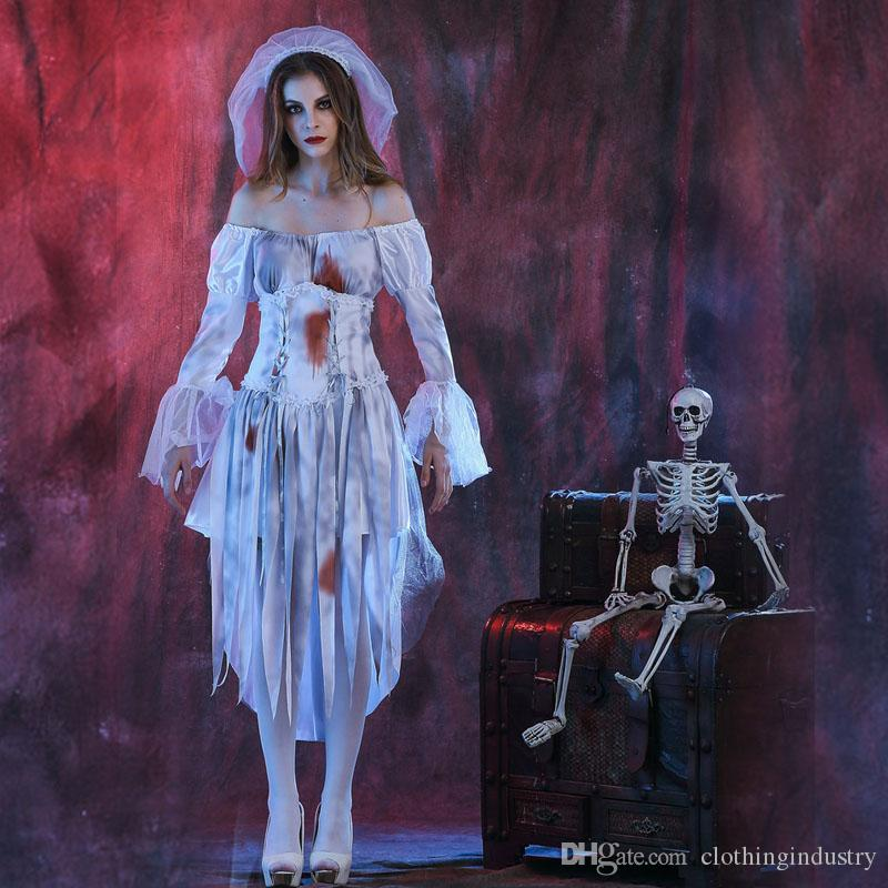 new halloween cosplay clothing stage costumes females couples white terror clothes halloween zombie ghost bride party team halloween costumes girl group