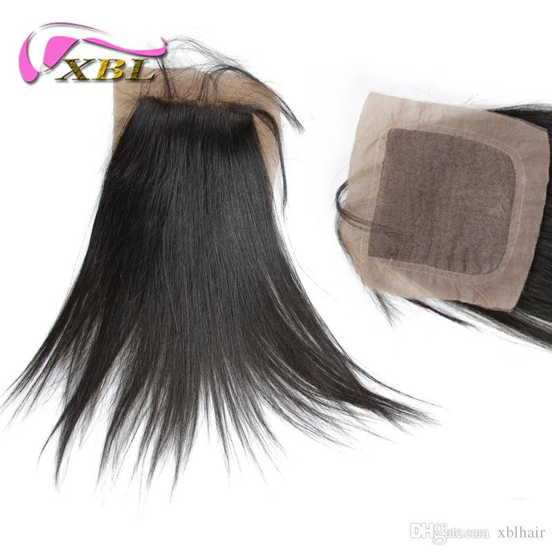 Straight Silk Base closure 4 * 4 Silk Base Virgin Hair, Free Shipping Indian / Brazilian / Malaysian / Peruvian Hair