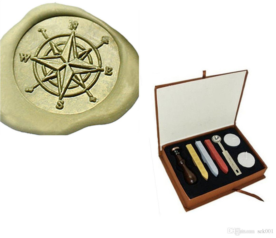 Vintage Compass Star Direction Wedding Invitation Wax Seal Stamp Kit ...
