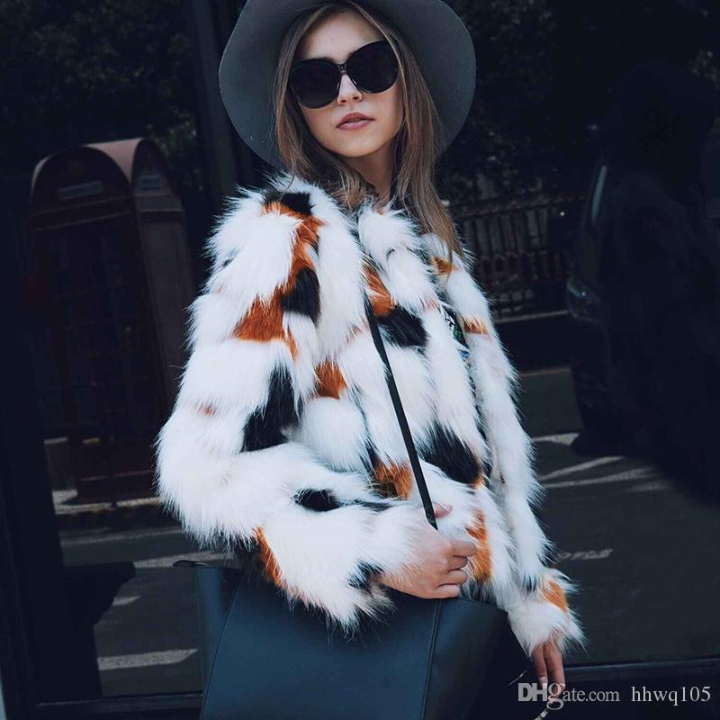 056796272 2018 New Faux Fur Jacket Outwear For Women Cropped Patchwork Fur Coat  Winter Warm Puff Jacket Fashion Christmas Party Overcoat CJG0801