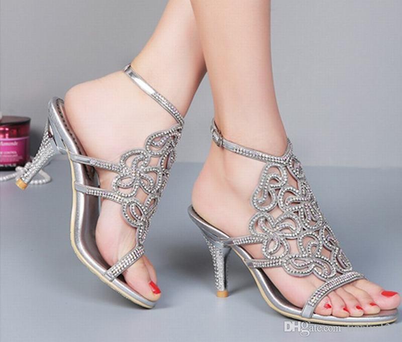 Grande taille 34-44 vente chaude 2016 marque gladiateur à talons hauts sandales été bout ouvert mariage strass pompes boucle dames chaussures sandalias
