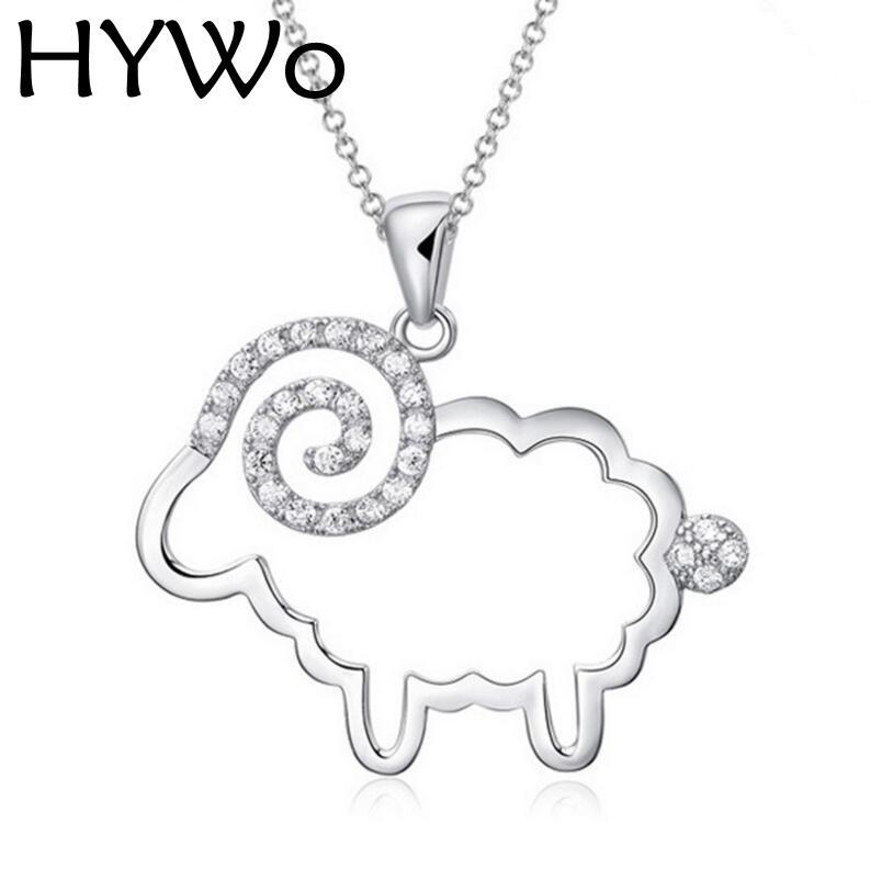HYWo 체인 제외 모자이크 양 Hollow 925은 크리스탈 펜던트 목걸이 여성을위한 저자 알레르기 보석 도매