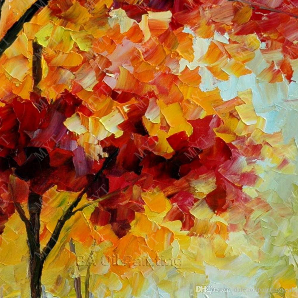 Maple Tree Landscape Picture Oil Modern Home Decoration Hand Painted Chinese Oil Painting No Framed