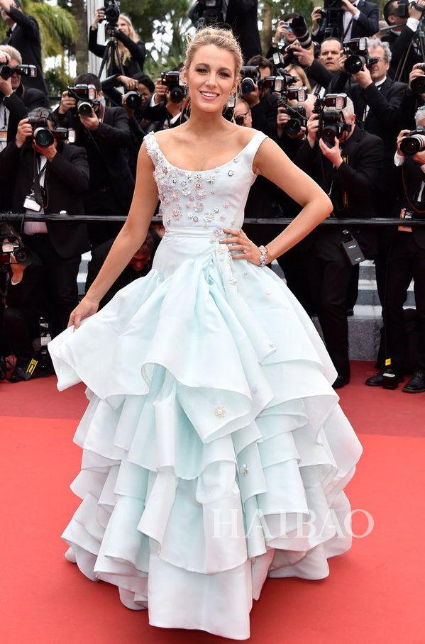 2016 Cannes Film Festival Celebrity Dresses Blake Lively Tiered Prom Gowns Long A-Line Red Carpet Scoop Neckline Appliqued Evening Dress