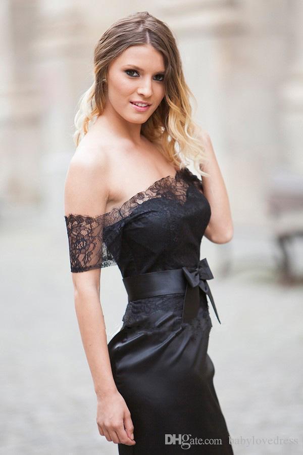 Rodilla hasta la rodilla Vestidos de fiesta de cóctel negros con lazo de encaje, cremallera en el hombro, espalda corto, vestidos de fiesta