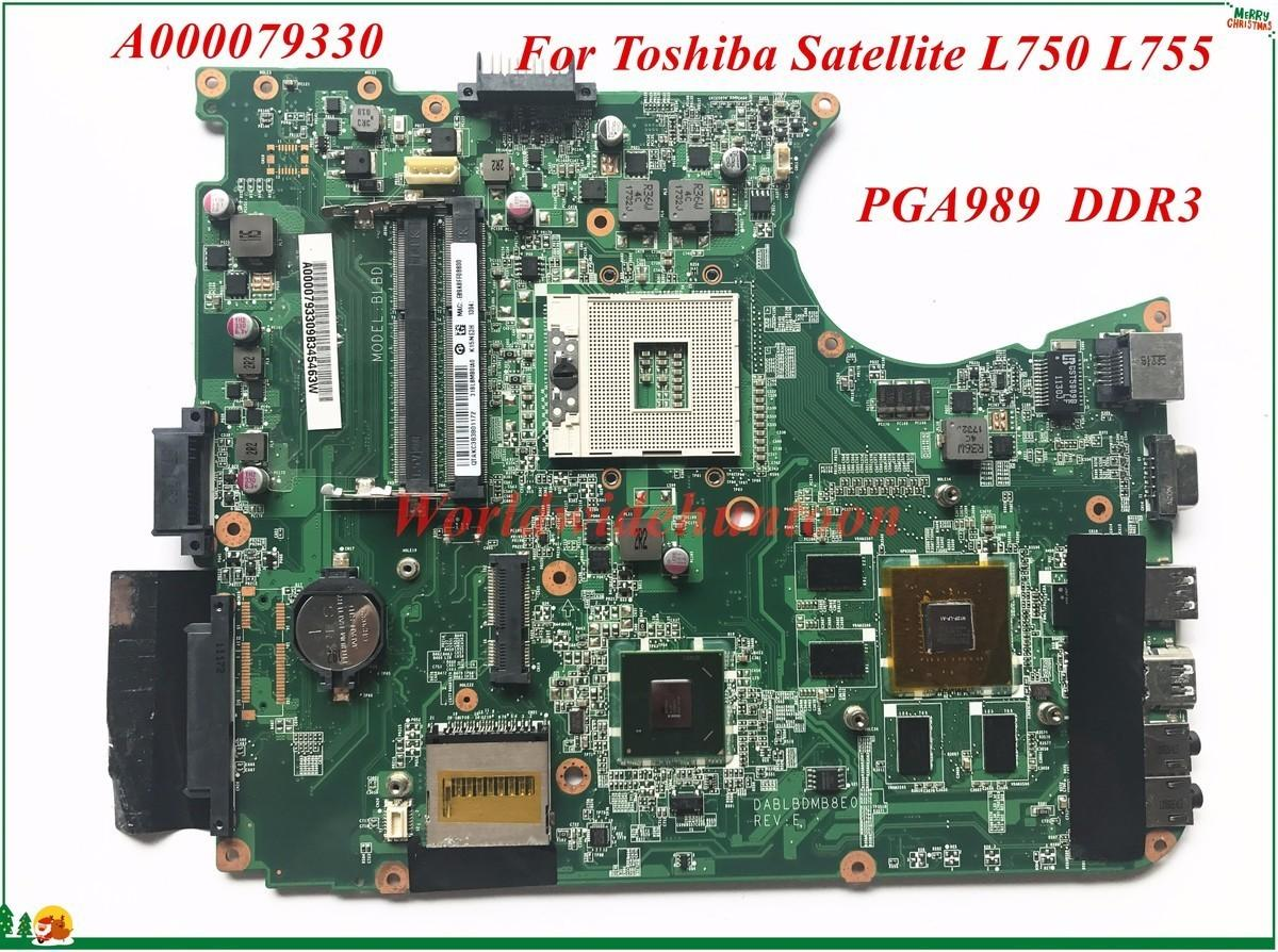 High Quality Motherboard A000079330 For Toshiba Satellite L750 L755 Laptop Motherboard DABLBDMB8E0 PGA989 DDR3 100% Tested