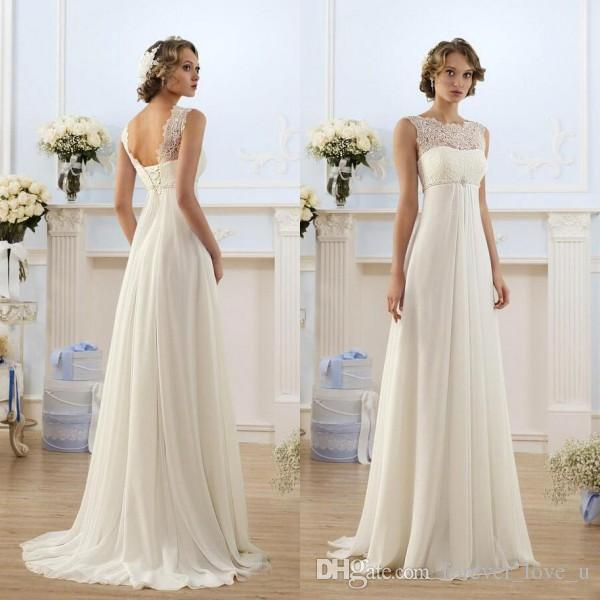 598d3eb7167 Cheap Empire Waist Wedding Dress 2016 Sheer Jewel Neckline Sleeveless Lace  Top Beach Garden Country Style Chiffon Bridal Gowns Beaded Belt Pink  Wedding ...