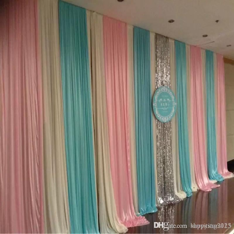 3m6m Fashion Colorfui Ice Silk Wiht Sequins Swag Wedding Backdrop