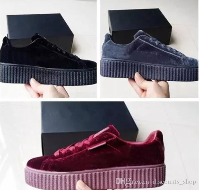 Rihanna Creepers Fenty Velvet Creeper Trainers Burgundy Red Black Grey  Women Men Fashion Cheap Casual Walking Shoes Shoes For Men Mens Running  Shoes From ... dbc0b059d