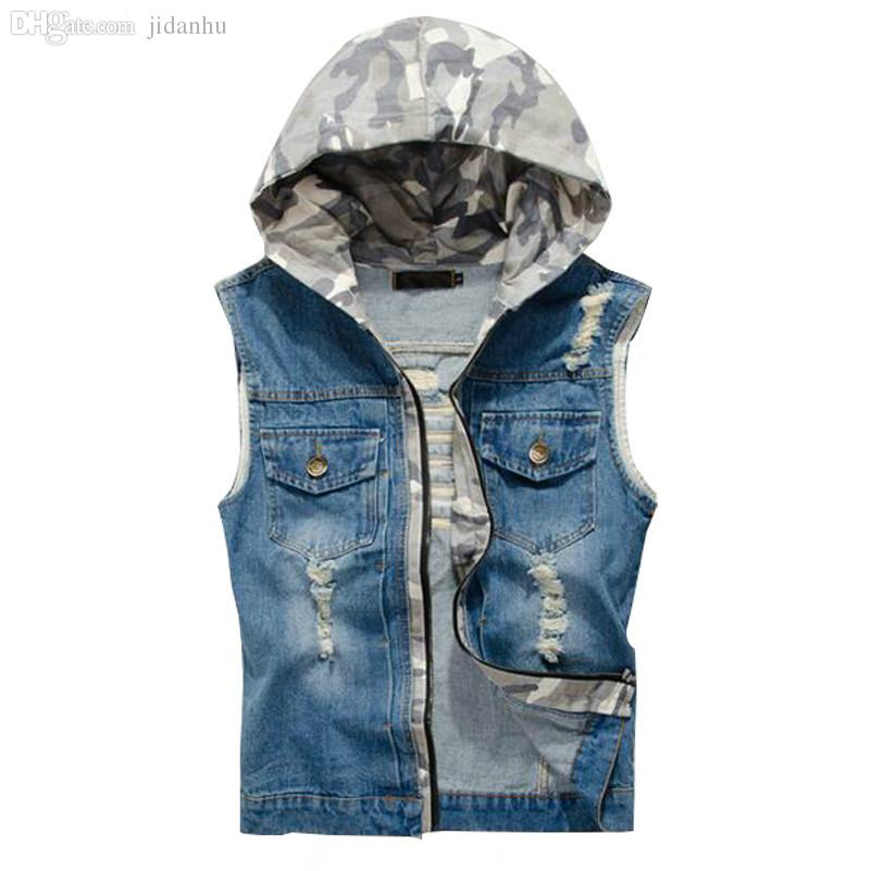 2017 Fall 2016 Ripped Jean Jacket Mens Denim Vest Jeans Waistcoat ...