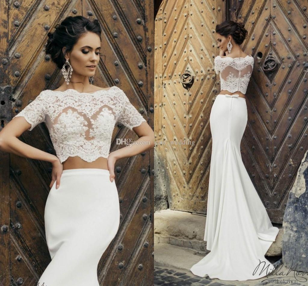 2017 Chic Crop Top Mermaid Wedding Dresses Illusion Bodice Short Sleeves  Two Piece Wedding Dresses Satin Vintage Bridal Dresses With Jacket Sexy  Wedding ... 84e010636bdd