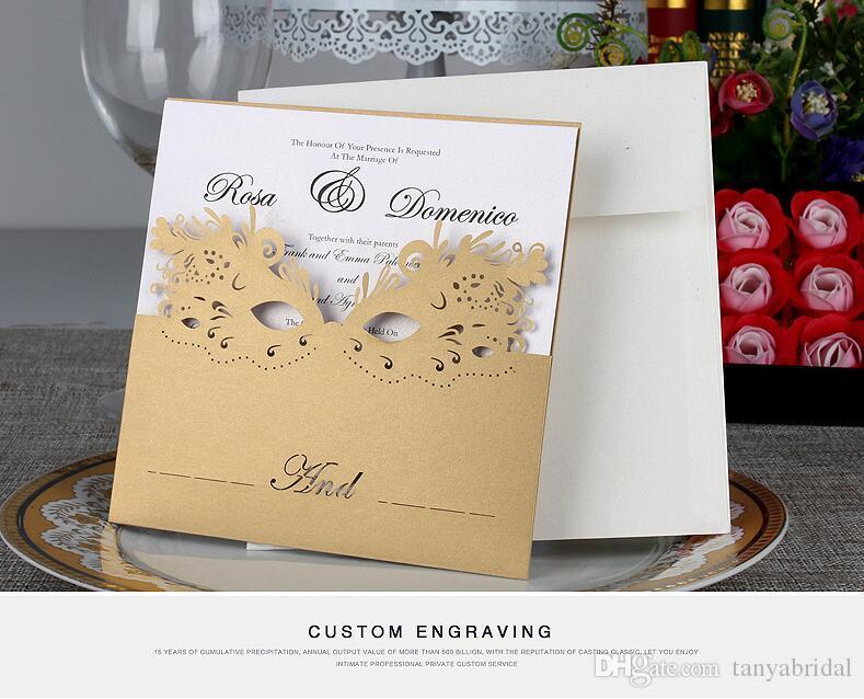 Convites de casamento de corte a laser de luxo personalizado impressão cartões de convite de Festa de Flor de Ouro Oco com envelopes para Baile de Máscaras