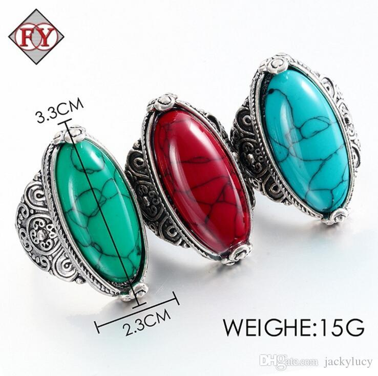 Bulks Mixed Silver P Faux Big Gem Stone Rings Wholesale Jewellery New Arrival