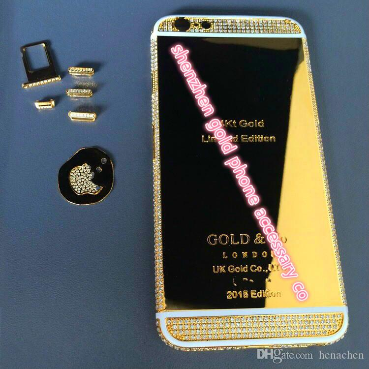 2017 real 24K gold partial DIAMOND crystal Plating Battery Back Housing Cover Skin for iPhone 6 24kt 24ct Limited dubai golden crystal cases
