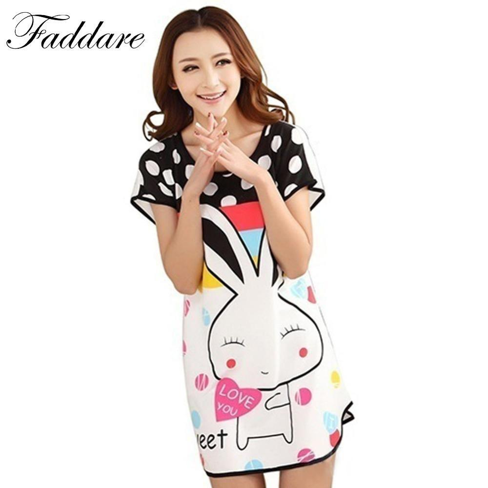 2019 Wholesale 2017 Women Cotton Sleepshirts Summer Short Sleeved Lovely  Printed Cartoon Animals Rabbit Indoor Nightgown Sleepwear Free Size From  Buxue e950d86f893f