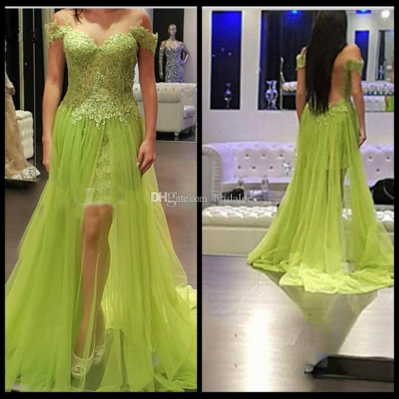 Mint Verde Prom Vestido 2016 Querida Appliqued Side Dividir Tulle Backless Fora do Ombro Rendas Festa À Noite Vestidos de Formatura