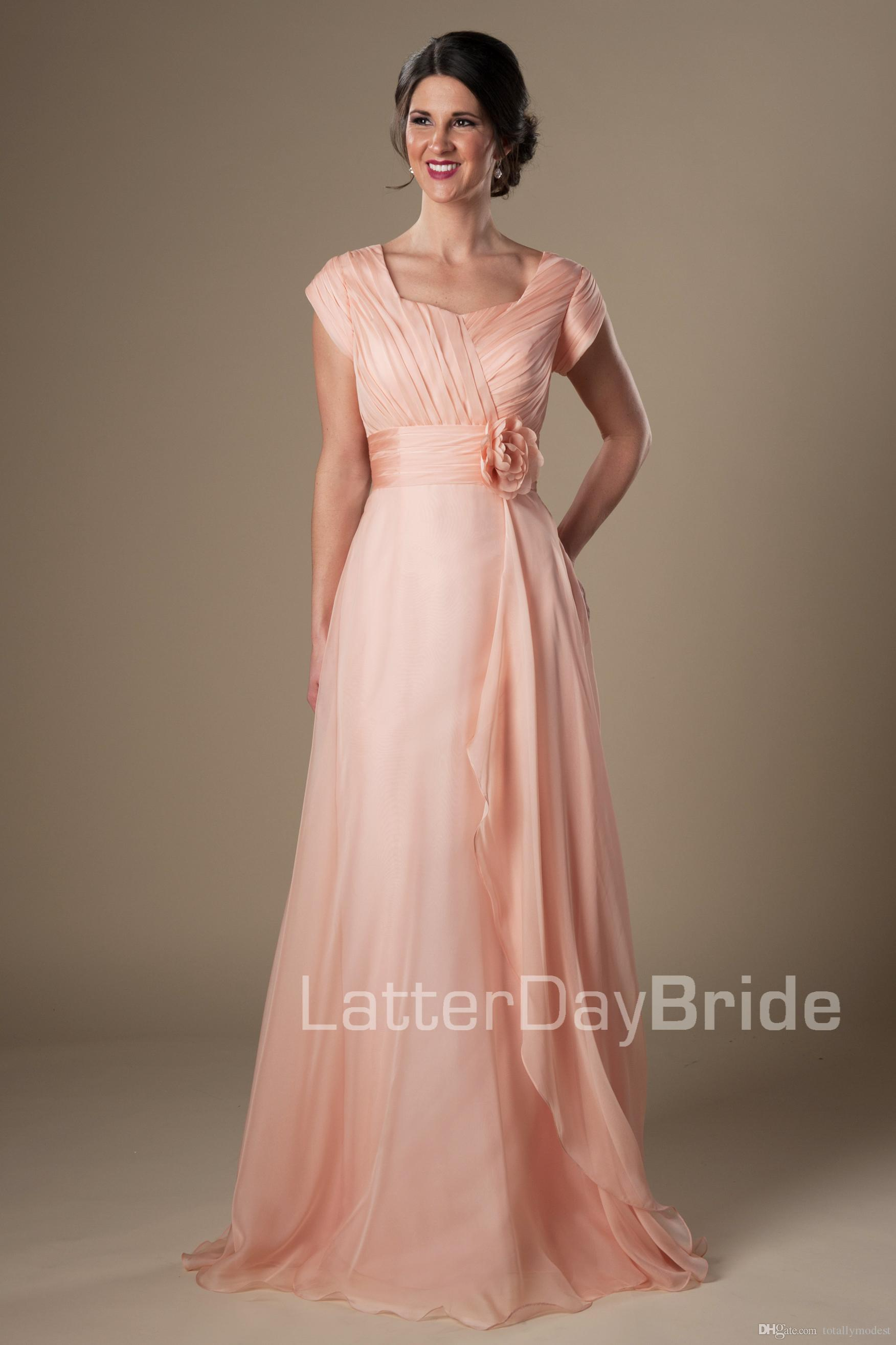 c0567b9d420 Coral Chiffon Modest Bridesmaid Dresses Short Sleeves Long Flowers Evening  Wedding Party Dresses Floor Length Maids Of Honor Dresses Cheap Bridesmaid  ...