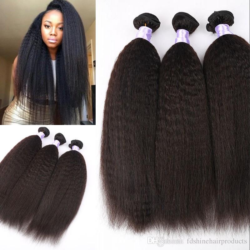 Unprocessed Human Hair Weave 3 Bundles Natural Color Peruvian Kinky