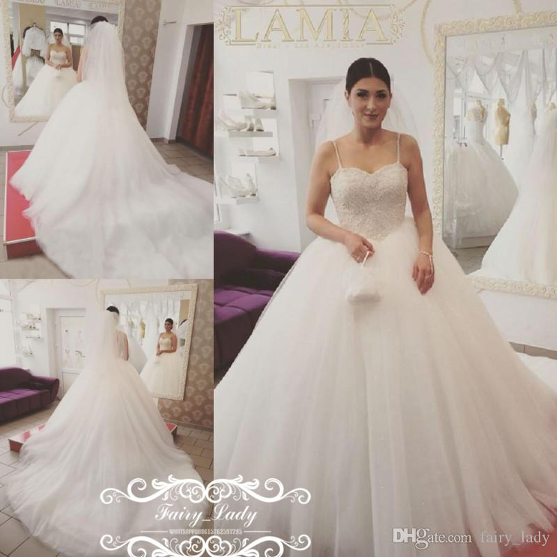 Vogue White Long Chapel Train Wedding Dresses For Women 2017 Spaghetti Strap Puffy A Line Appliques Beads Plus Size Tulle Bridal Gown Mermaid Style
