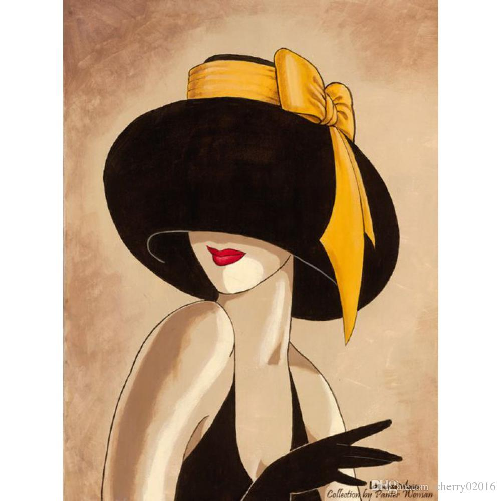 Abstract paintings for living room wall woman in black yellow hat hand-painted Canvas art