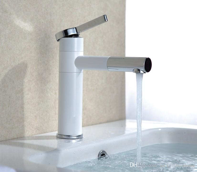 2018 Copper Chrome Bathroom White Color Basin Tap Brass White Faucet ...
