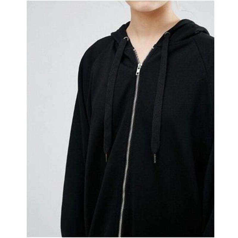 sweat à capuche longue lâche noir pour les femmes en tête sweat à manches longues fermeture à glissière Outwear Survêtement Hauts Casual tailles plus ouc2033