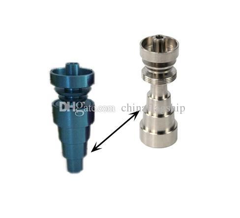 최신 블루 그린 골드 오렌지 레드 6 in 1 Domeless GR2 Titanium Nail Fit 101418mm 유리 물 봉합 무료 배송