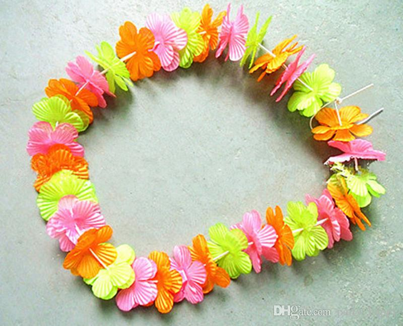 2016 Hawaii Flower Necklace Tropical Beach Style Exquisite Cloth Art Processing Wreath Party Flower Necklace Party Flower Garland