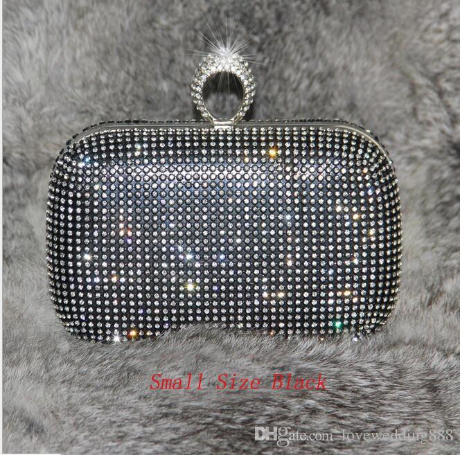 Brillant Cristal Argent / Noir / Or Sacs À Main De Mariée 2019 Grand / Petit Style Bague De Mode Femmes Sacs D'embrayage Pour Les Soirées Soirée Formelle