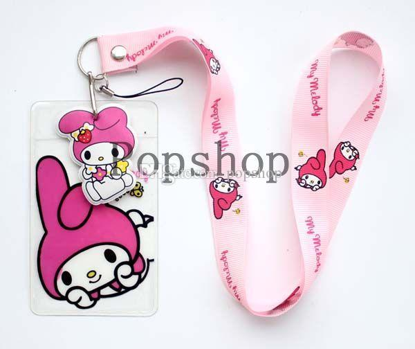 NEW Cartoon Pink My Melody Neck Lanyard strap Charms Cell Phone ID Badge Holder