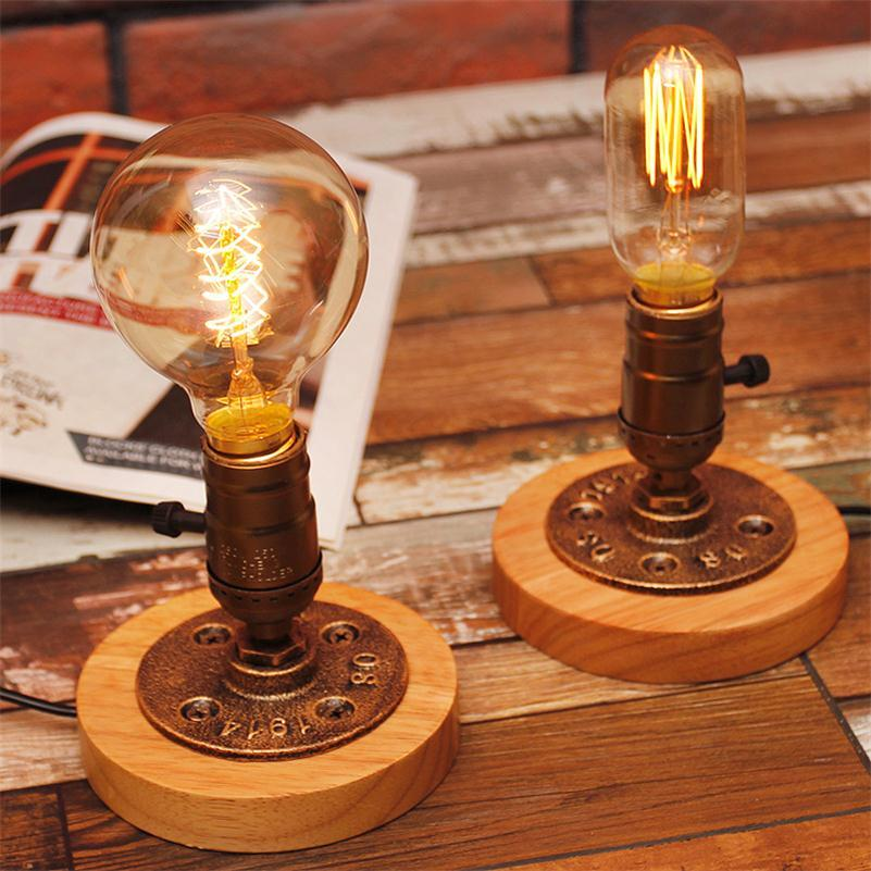 2017 Edison Bulb Table Lamp American Rural Solid Wood Deco Lamparas Touch  On/Off Switch Luminaria De Mesa Vintage Table Reading Light Dimmer From ...