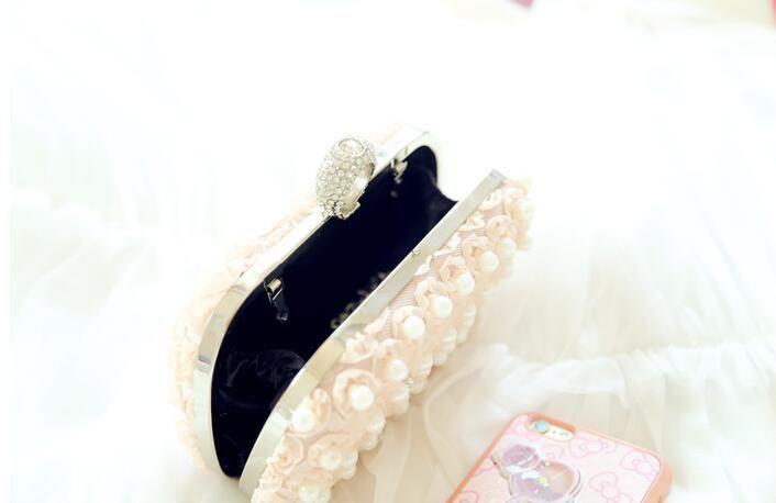 Handmade White/Champagne Women's Lace Rose Flower Rhinestone Pearl Ring clutch bags handbag purse evening bag banquet Bags