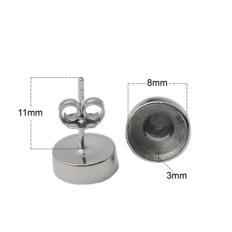 Серьги-гвоздики с бусинами из стерлингового серебра 925 пробы с 8-мм круглым кабошоном с ювелирными украшениями ID 34732