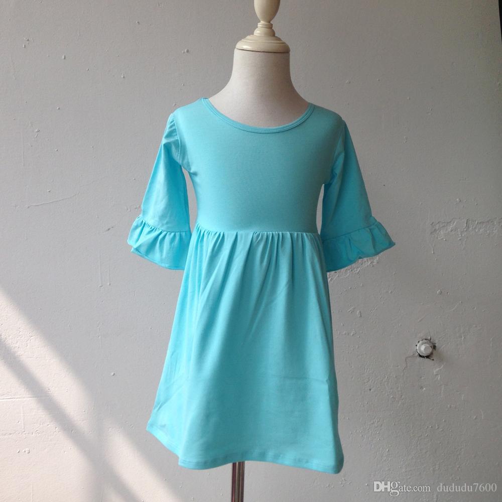 Latest Girls Elegant Aqua Princess Dress Children Cotton Single Ruffle Sleeve Dress Kids Flare Long Sleeve Clothes