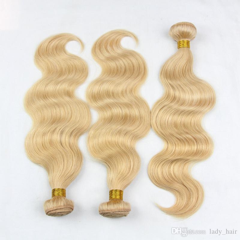9A # 27 Miel Blonde Vierge Malaisienne Tisse de Cheveux Humains Vague de Corps Ondulés Malaisienne Blonde Fraise Blond Vierge de Cheveux Humains Bundles