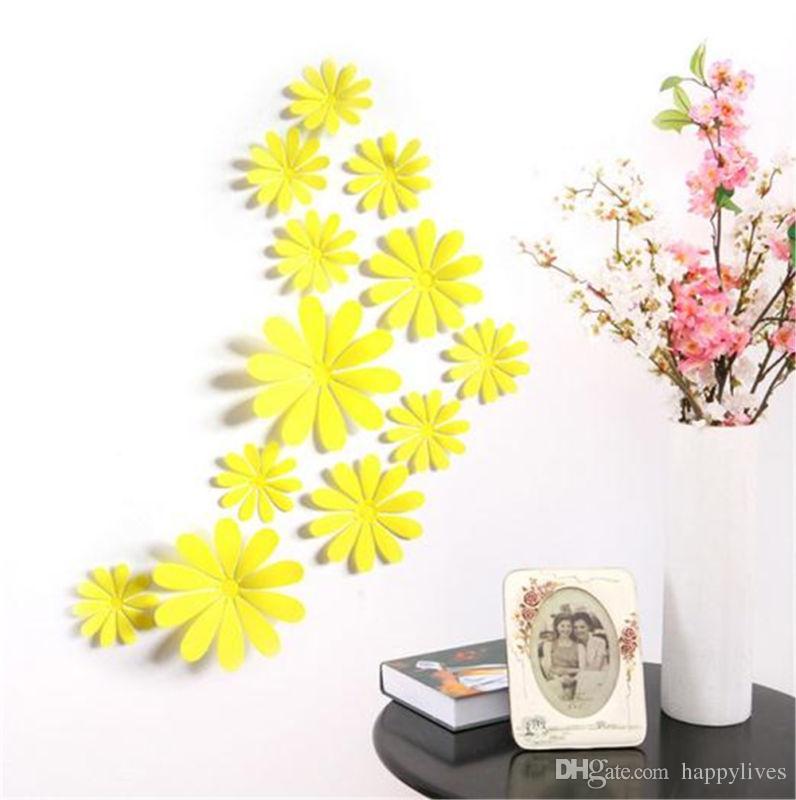 Stickers muraux 3D coloré miroir argent fleur autocollant Art mural porte autocollants muraux Accueil déco mode coloré autocollants