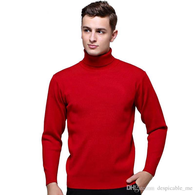 e841ea990 Compre Mens Preto Gola De Lã Camisola Slim Fit Homens Sólidos Malha  Cashmere Pullovers E Camisolas Para Homens Tamanho S 2XL De Despicable me