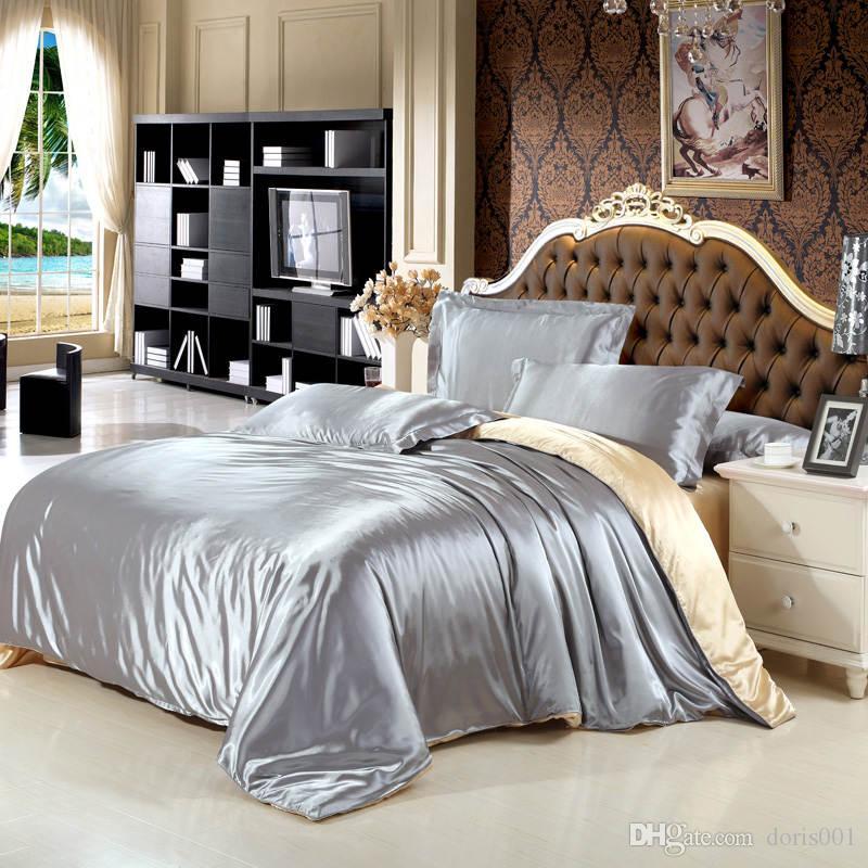 2016 einfarbig silk satin luxus bettwäsche set könig königin größe bettlaken / bettbezug / kissenbezug 4 teile / satz silber violett rot heimtextilien
