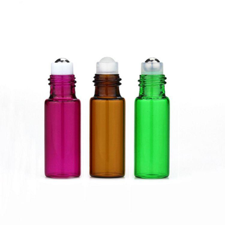 Vendita calda 2400 pz / lotto 5ml colorato di vetro vuoto rotolo su bottiglie profumo 5cc piccolo olio essenziale roll-on bottiglia i scegliere