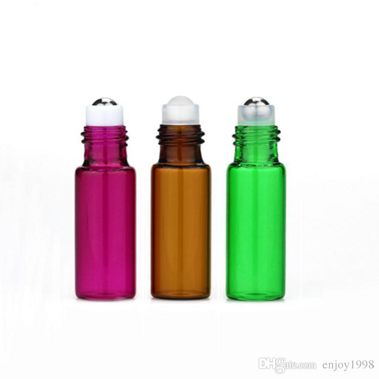 Vente chaude / Coloré 5 ml Verre Vide Rouleau Sur Bouteilles Pour Parfum 5CC Petite Huile Essentielle Roll-On Bouteille 6 Couleurs pour Choisir