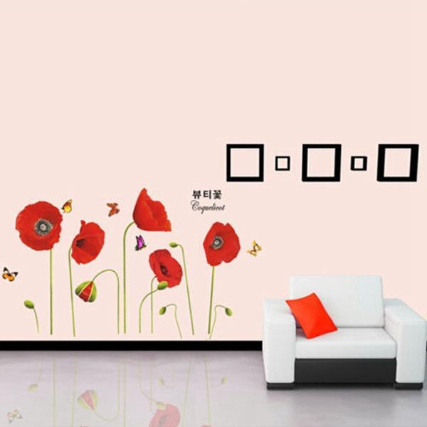 Best Promotion Beautiful Design Flower Corn Poppy Butterfly Removable Wall Sticker Wallpaper Home Art Decor Decoration Gift