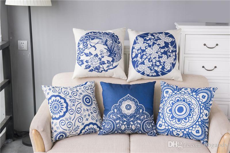 Funda de lino con estampado floral de cojín Floral de porcelana azul y blanca estilo almohada a medida para silla decorativa para el hogar Funda de almohada