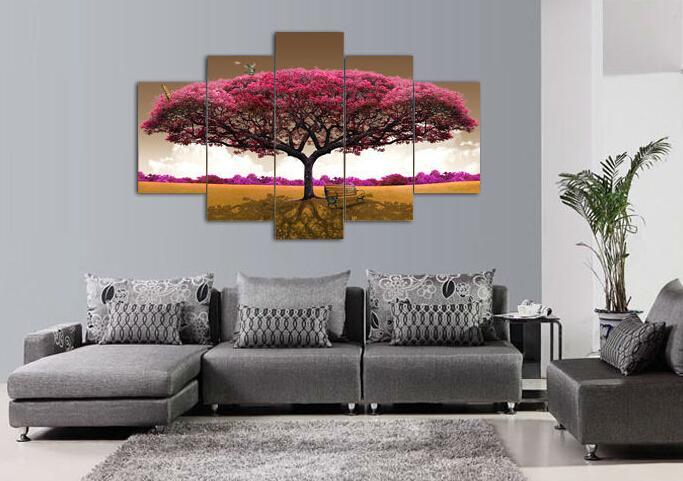 De alta calidad Moderno Impreso En Lienzo árbol grande pintura para sala de estar decoración 5 unids / set decoración de la pared impresiones en lienzo F / 445