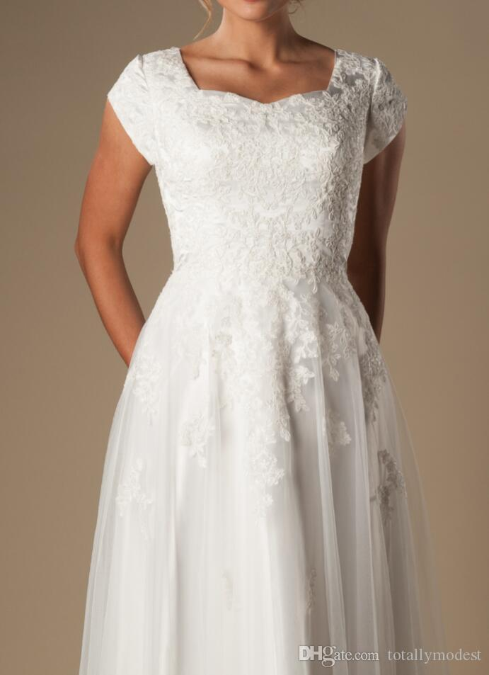 아이보리 레이스 얇은 겸손한 A 라인 웨딩 드레스 캡 슬리브 퀸 앤 넥 신부 가운 A 라인 긴 바닥 리셉션 웨딩 드레스
