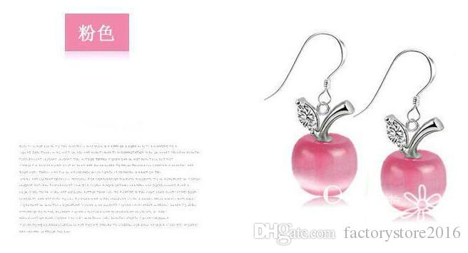 925 pendientes de plata esterlina joyas para mujer gato ojo ópalo pendientes de manzana de la boda de la vendimia blanco de color rosa encanto de cristal cuelga el pendiente