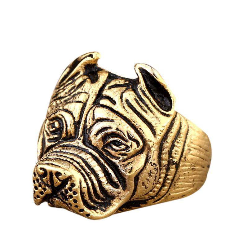 Cute Gold Men's 316L Stainless Steel Never Fade Vintage Black Bulldog Dog Pet Ring Size 7-13