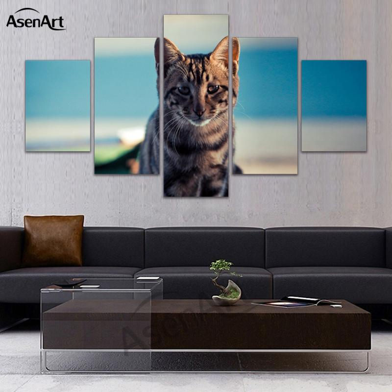Wall Art 5 Panel Canvas Art Leopard Tiger Cat Deer Animal Pictures Print on Canvas Home Decor Framed Ready to Hang Dropshipping